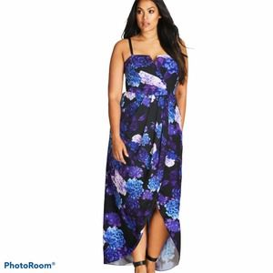 City Chic Strapless Faux Wrap Print Maxi Dress